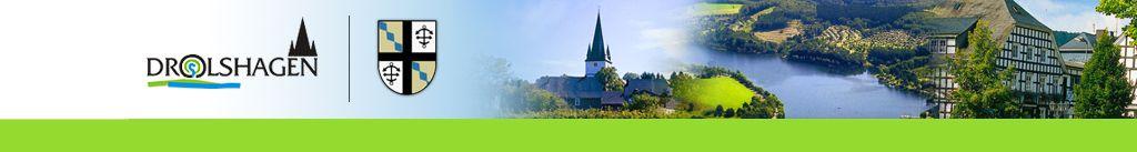 Werbelogo, Stadtwappen und Bildkollage der Stadt Drolshagen